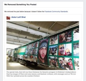Facebook removes Kashmir Watch FB page post about the pro Kashmir Pakistan's Azadi Train