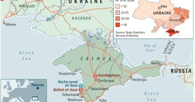 Russia, Crimea, Ukraine map. The Economist