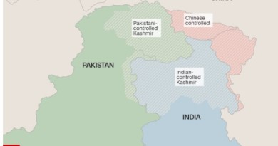 CNN Kashmir Map, Jammu and Kashmir disputed territories under control of India, Pakistan and China