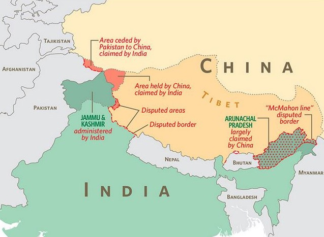 China india at the brink of war kashmirwatch china india border disputes map by cofda gumiabroncs Image collections